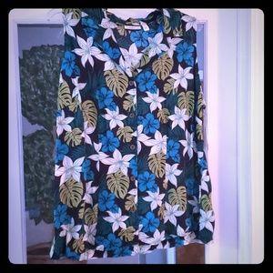 Tropical print sleeveless top